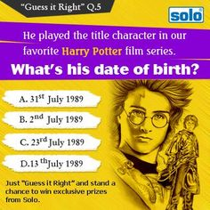 "Just ""Guess it Right"" and stand a chance to win exclusive prizes from Solo. T & C Apply"
