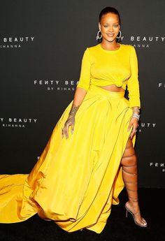 87255db05c8 Rihanna Fenty Beauty Launch yellow Oscar de la Renta dress