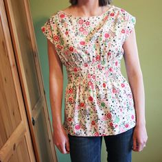 make into a nursing top by adding a panel over the front and shir the bottom of the panel with elastic thread to blend in with the shirred waist.