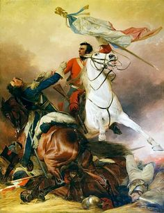 Seizing the Eagle of the 45th Ligne at Waterloo by Sgt Ewart of the Scots Greys. Art by Richard Ansdell (1815-1885)