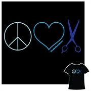 """If you think beautiful hair makes the world a better place, our """"Peace, Love and Hair"""" T-shirt is for you. Available at www.behindthechair.com/shop, $24.95"""