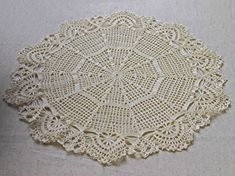 NEW; Lovely ivory crochet doily with fancy rim; Crochet tablecloth; Crochet centerpiece; VerLen crochet; FREE SHIPPING