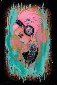 Art by Caia Koopman - Inked Magazine Girl Dj, Up Girl, Aliens, Glenn Arthur, Chica Punk, Original Paintings, Original Art, Inked Magazine, Goth Art