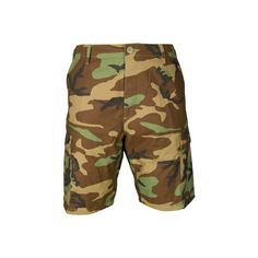Propper BDU Short (Zipper Fly) 100% Cotton - Woodland Camo ($52) ❤ liked on Polyvore featuring shorts, none, propper shorts, camo print shorts, short shorts, camo shorts and camoflage shorts