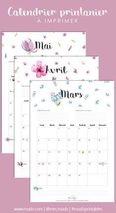 Calendrier de printemps à imprimer (mars, avril, mai 2017)