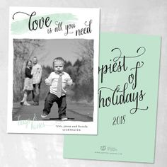 Hugs & Kisses Holiday Photo Cards, order deposit — custom christmas card, family holiday card, watercolor, script
