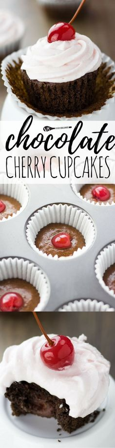 Chocolate Cherry Cupcakes with a perfectly moist gluten free chocolate cupcake, all-natural maraschino cherry in the center and cherry frosting. If you are a maraschino cherry fan, this cupcake is calling your name. (Gluten Free, Dairy Free & Vegan Friendly)
