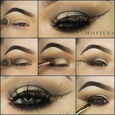 """______________________ Here is the pictorial for the look I posted yesterday. All products are from @MOTIVESCOSMETICS, unless stated differently 1) after priming my eye with """"Dark Concealer"""" I took a #morphebrushes blending brush and applied """"Vanilla"""" shadow above my crease and blended it into my brow highlight. To highlight my brow I used """"Hour Glass"""" shadow. 2) with the same brush I took """"Infinity"""" shadow and plac"""