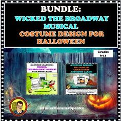 SAVE 10%! Looking for a Halloween themed lesson for your middle grade drama students? This Wicked, the Broadway musical lesson and Costume Design with Halloween Characters are a perfect choice. Plus, Boom Cards are included for both! Talk about stress free for the teacher. #distancelearningTPTHO...