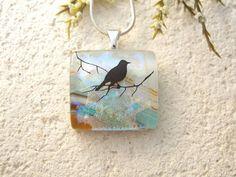 Petite Bird Necklace  Dichroic Glass Jewelry  Bird on by ccvalenzo
