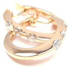 Authentic! Roberto Coin 18k Yellow Gold Three Diamond Hoop Earrings - Fortrove