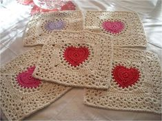 Center Heart Square - free crochet pattern.
