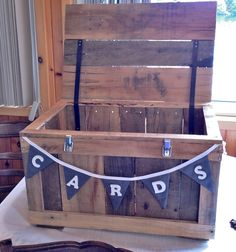"Our DIY pallet card box with handmade bunting ""cards"" banner"