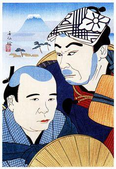 """Soganoya Goro and Soganoya Choroku in """"Hizakurige""""  by Natori Shunsen, 1928  (published by Watanabe Shozaburo)"""