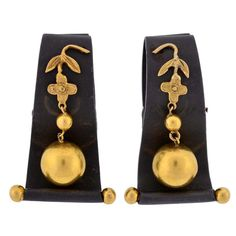 MARSH & CO. 1950s Blackened Steel and Gold Clip Earrings | From a unique collection of vintage clip-on earrings at https://www.1stdibs.com/jewelry/earrings/clip-on-earrings/