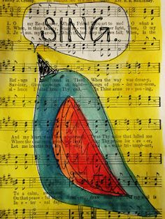 creativegeniusart.blogspot.com Why not use christmas music and have the kids draw(or collage) a caroller instead of a bird?