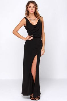 Even amongst a crowd of head-turning numbers, the Shooting Starlet Black Maxi Dress will still be the star of the show! Soft poly-spandex stretch fabric falls from wide straps into a draping cowl neck front and low back for an elegant presentation. A fitted maxi skirt takes over at the waist, gathering into a ruched accent at the left side, above a thigh-high slit. Lined to mid-thigh. 96% Polyester, 4% Spandex. Dry Clean Only. Made With Love in the U.S.A.