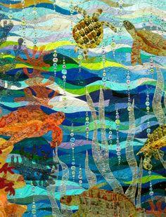 Risultati immagini per turtle mosaic bathroom australia Ocean Quilt, Beach Quilt, Fish Quilt, Tropical Quilts, Hawaiian Quilts, Sea Turtle Quilts, Landscape Art Quilts, Landscapes, Animal Quilts