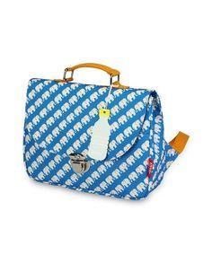 85c489e928e Blauwe small schooltas met elephant print van Engel. De tas heeft 1  binnenvak met een