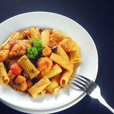 One Perfect Bite: Frugal Foodie Friday - Pasta Puttanesca with Cauliflower