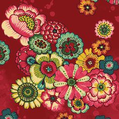 Watercolor Blooms in Red * Flower Frops Collection* P Textiles