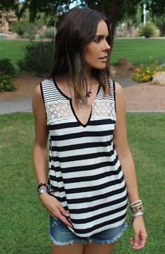 Love Stripes? So do we! Our Stripes on Stripes Crochet Accent Tank will be your go to Tank this Summer! You will love how light weight and flattering the cut on this top is!
