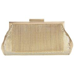 Whiting & Davis Fringed Mesh Clutch ($285) ❤ liked on Polyvore featuring bags, handbags, clutches, bolsas, gold, beige purse, fringe purse, chain purse, mesh purse and chain handle handbags