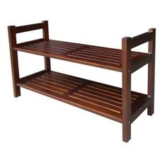 Home Decorators Collection 2-Tier 15-1/2 in. W Mahogany Stackable Shoe Rack-DSR001 at The Home Depot