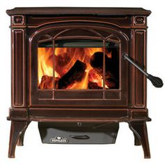Best Indoor Wood Stove | ... 1100CN-1 Cast Iron Wood Burning Stove Porcelain Enamel Majolica Brown