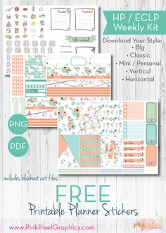 Free Printable Minted Marble Weekly Planner Stickers www.pinkpixelgraphics.com {subscription required}