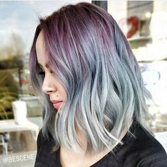 World Class lob haircut and plum to silver color melt by @bescene #b3 #hotonbeauty