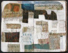 Anne Davies' work in small moleskine Leather Sketchbook, Textiles Sketchbook, Artist Sketchbook, Sketchbook Pages, Fashion Sketchbook, Moleskine Sketchbook, Artist Journal, Art Journal Pages, Art Journals
