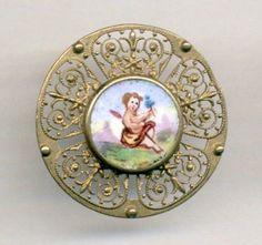 Antique  Button...Sweet Enamel Plaquette in Pierced Brass Metal....Winged Fairy