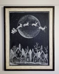 This Santa sleigh chalk art appeared in the pages of Better Homes & Gardens! Get your free Christmas printable of this winter village art for your home. Thanksgiving Chalkboard, Christmas Chalkboard Art, Chalkboard Decor, Chalkboard Designs, Halloween Chalkboard Art, Chalkboard Print, Christmas Window Decorations, Christmas Signs, Christmas Art