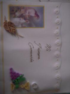 bella invitación de primera comunión hecha con filigrama