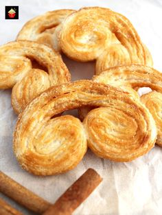 Easy French Palmier Cookies. These are a very easy crispy cookie, made up of simply 3 ingredients. Quick to make and very flexible with flavors. Suggestions for sweet and savory in the recipe for you!   Lovefoodies.com