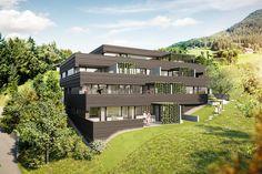 Wohnanlage Kehrstrasse Feldkirch | Atelier Ender | Architektur Feldkirch, Mansions, House Styles, Home Decor, Patio, Atelier, Underground Garage, Wood Facade, Planting