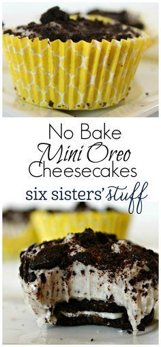 No Bake Mini Oreo Cheesecakes on SixSistersStuff.com