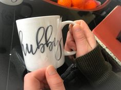 Tutorial on using heat transfer vinyl on mugs with a heat press. Includes free Hubby Wifey SVG cut files for Cricut or Silhouette!