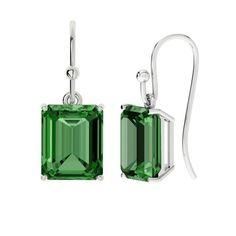 Hydrothermal Emerald, Emerald Cut Silver Drop Earrings by StyleRocks (8.270 CZK) ❤ liked on Polyvore featuring jewelry, earrings, earring jewelry, hook earrings, silver emerald earrings, emerald cut drop earrings and drop earrings