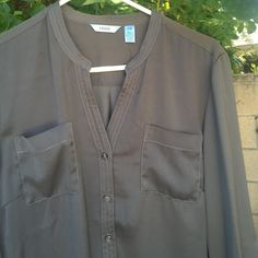 Long sleeve blouse Dark gray long sleeve blouse with buttons on sleeve to roll up and two pockets on bodice IZOD Tops Blouses