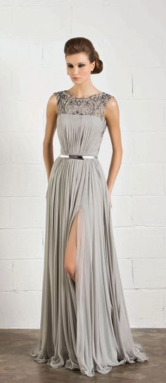 Silver floor length gown