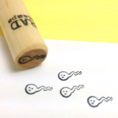 Rad Stamps radstamps.etsy.com Happy Little Swimmers - Tiny Sperm Rubber Stamp #atomicholidaybazaar #radstamps