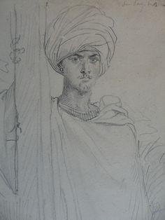 CHASSERIAU Théodore,1846 - Arabe coiffé d'un Turban, debout contre un Arbre - drawing - Détail 15