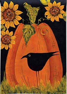 Primitive Halloween Happy Haunting Pumpkin Star Crow Star Double Sided House Flag 28 x 40 Fall Canvas Painting, Autumn Painting, Autumn Art, Canvas Art, Fall Paintings, Crow Painting, Tole Painting, Canvas Paintings, Halloween Canvas