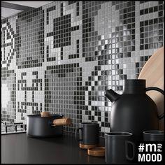 M+ Mood - Squares Grey  #mosaicopiu #ikos #design #grey #mood #neutralcolor #decoration #glassmosaic #backsplash #kitchen #mosaic #tiles