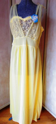 Vintage 50s Buttercup Yellow Nightgown by by BestofBessVintage, $28.00 (SOLD)