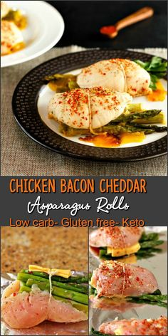 Cheddar Bacon Asparagus Chicken Rolls- Low carb, primal and gluten free. Easy to make and super tasty! via @staceyloucraw