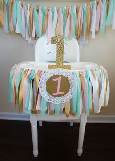 Mint, Pink, Gold Garland, 1st Birthday Garland, 1st Birthday Banner, Highchair Banner, Sweets table decor, Smash Cake Banner, Photo Prop