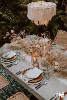 Boho Chic Wedding Table Setting Idea With A Chic Desert Boho Tablescape With Woo. Boho Chic Wedding Table Setting Idea With A Chic Desert Boho Tablescape With Wooden Plates Plus A F Wedding Table Centerpieces, Wedding Table Settings, Table Decorations, Centerpiece Ideas, Setting Table, Romantic Table Setting, Outdoor Table Settings, Table Setting Inspiration, Centerpiece Flowers